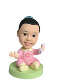 Baby Girl With Rattle Bobblehead - Bobbleheads.com