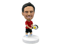 Tennis Player Swinging His Racquet Bobblehead - Bobbleheads.com