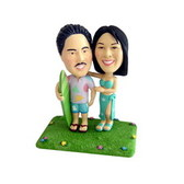 Hawaiian Theme Couple Bobblehead - Bobbleheads.com