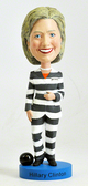 Hillary Clinton Striped Prison Pantsuit Bobblehead - Bobbleheads.com