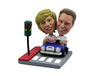Couple In Blue Car At Stoplight Bobblehead - Bobbleheads.com
