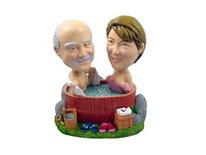 Couple In A Hot Tub Bobblehead - Bobbleheads.com