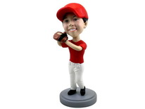 Child Baseball Player Wearing Glove Bobblehead - Bobbleheads.com