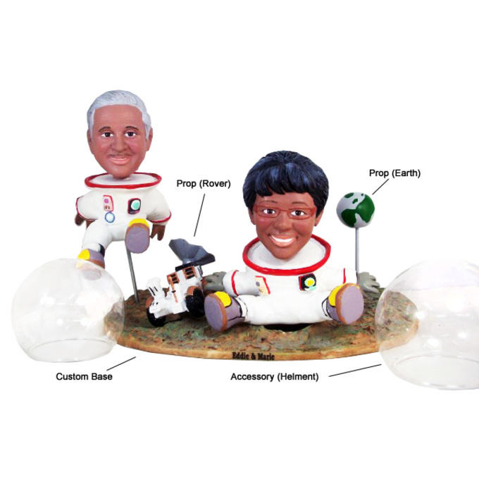Example custom double bobblehead with rover prop, earth prop, helmet accessory, and custom base.