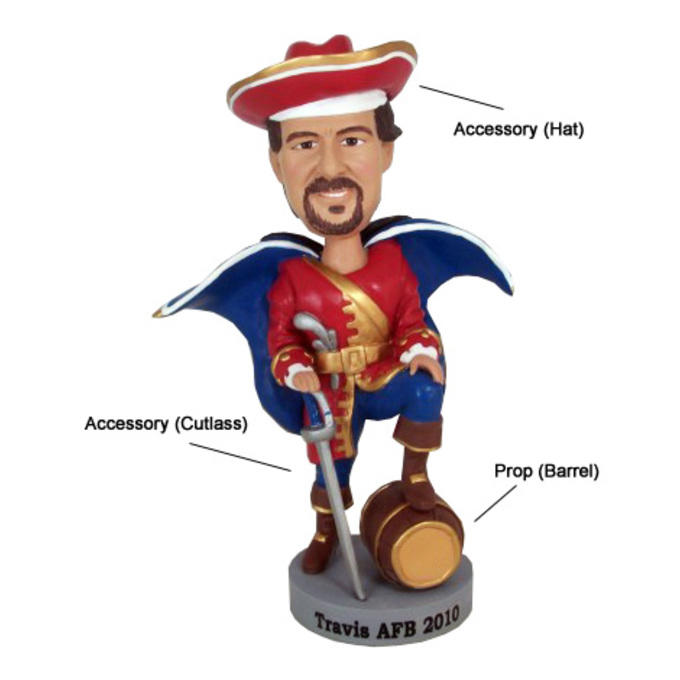 Example custom bobblehead with hat accessory, cutlass accessory, and barrel prop.