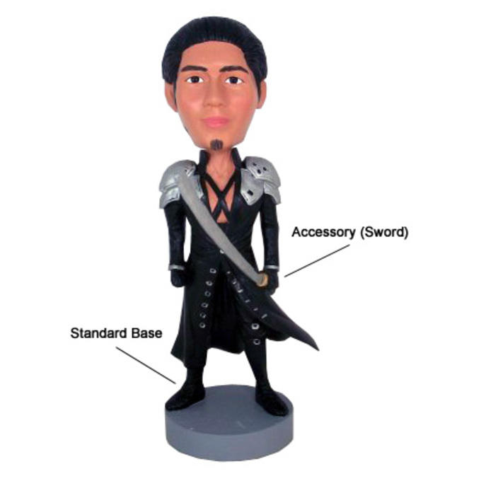 Example custom bobblehead with sword accessory and standard base.