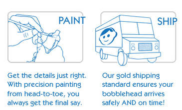 Get the details just right.  With precision painting from head-to-toe, you always get the final say.  Our gold shipping standard ensures your bobblehead arrives safely AND on time!